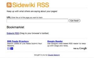 Sidewiki RSS